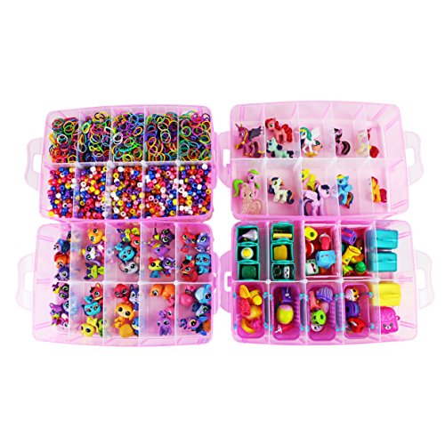 Bins & Things Stackable Storage Container with Handle and 30 Adjustable Compartments – Compatible with LOL Dolls, Shopkins, Littlest Pet Shop, Rainbow Loom, Beads, Arts & Crafts Accessories