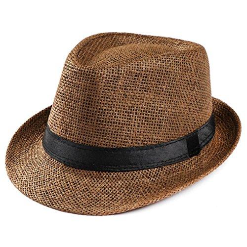 Shybuy Unisex Short Brim Straw Jazz Roll up Hat Fedora Beach Sun Hat (Coffee) -