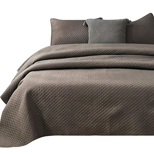 Stone Washed Microfiber 3 Pieces Solid Quilt and Coverlet Set, Classic Diamond Pattern, Machine Washable, Easy Caring. King and Queen Set Available. Good for All Seasons (CHOCOLATE, QUEEN SET)