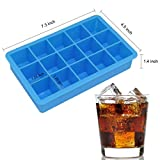 Docik 2-Pack Silicone Ice Cube Tray, 15 Perfect Size Cubes Per Ice Tray, Flexible Rubber Molds for Ice, Candy, Chocolate, Make 30 Cubes Total