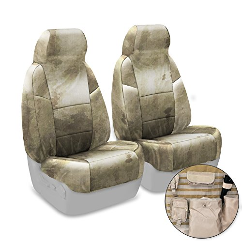 Coverking Custom Fit Front 50/50 High Back Bucket Tactical Seat Cover for Select Ford Bronco Models - Cordura/Ballistic A-TACS Camo (Arid/Urban)