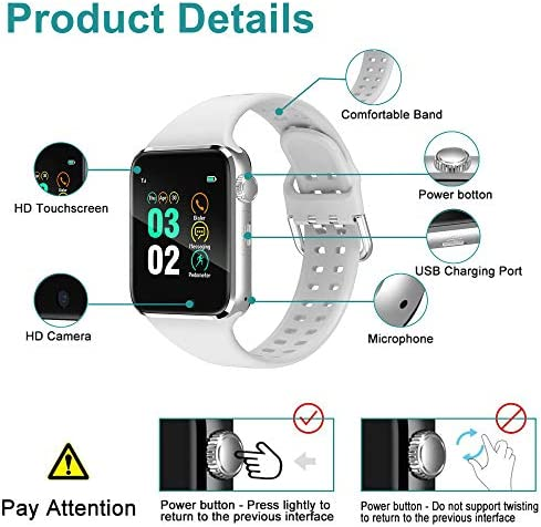 321OU Smart Watch Compatible iOS Android iPhone Samsung for Women Men, Make/Answer Calls Support Bluetooth Touchscreen Sport Watch Fitness Tracker with Pedometer Camera (White) 51uci8 2BCv6L