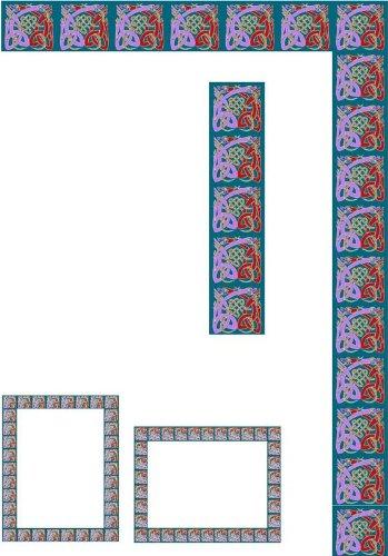 ウィンドウフレーム – Geometric Squares – エッチングビニールStained Glass Film , Static Cling Window Decal 10 in x 52 in B005M7SI96  10 in x 52 in