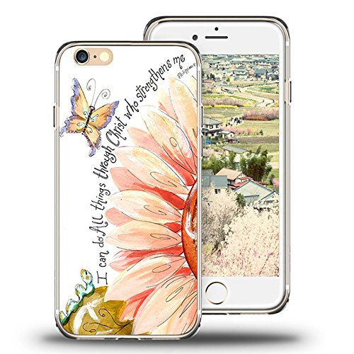 iPhone 6s Case, iPhone 6 Case Viwell TPU Soft Case Rubber Silicone Quotes I can do all things through christ who strengthens me.