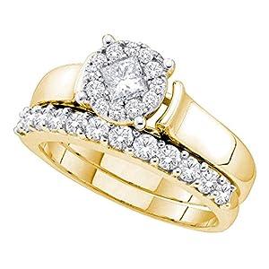 14k Yellow Gold Round Halo Princess Diamond Engagement Ring & Wedding Band Set Rings Bridal Set 1.00 ctw Size 7