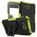 Samsung Galaxy Tab A6 7.0 2016 T280 T285 Case, BAUBEY Hybrid Rugged Armor Tough Shock Proof Hard Tire Tread Rubber Case Cover Stand for Samsung Galaxy Tab A6 7.0 SM-T280 SM-T285 (Green)