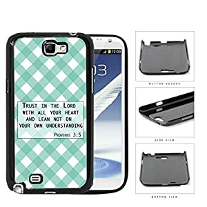 Proverbs 3:5 Bible Verse with Teal & White Stripes Diamonds Pattern [Samsung Galaxy Note II 2 N7100] Hard Snap on Plastic Cell Phone Cover