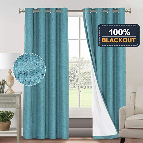 100% Blackout Thermal Insulated Curtains for Bedroom Energy Efficient Textured Rich Material Linen Curtains for Living Room Waterproof Window Treatment Set (52 x 96 inch