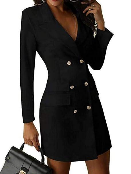 Amazon.com: Vestido Blazer de doble pecho para mujer con ...