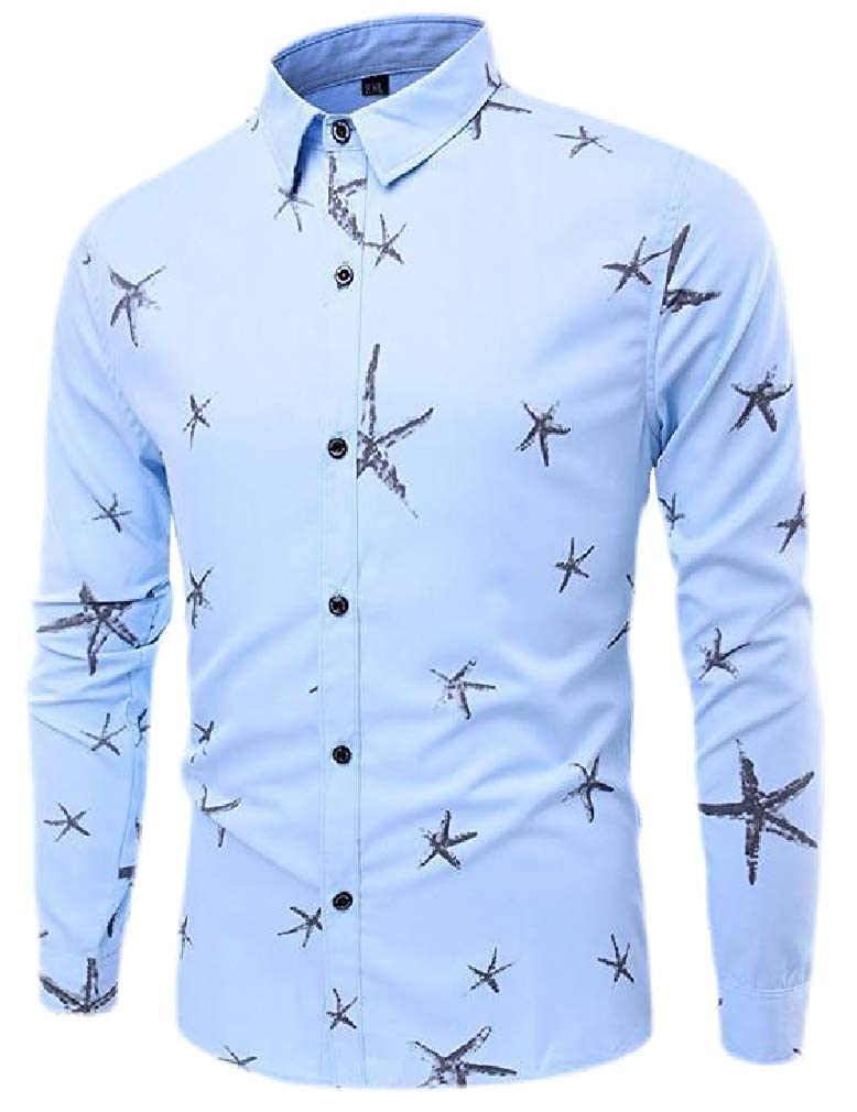 Smallwin Mens Long Sleeve Slim Fit Star Print Lapel Neck Button Down Shirts