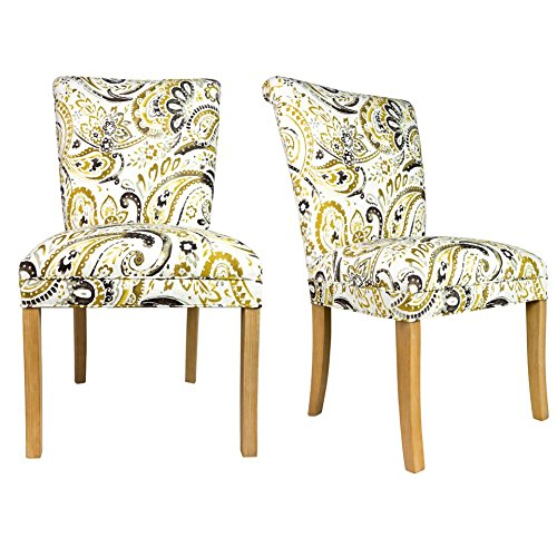 Sole Designs The Barcelona Collection Contemporary Style Fabric Upholstered Armless Dining Side Chairs (Set of 2), Mustard and White