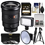 Sony Alpha E-Mount FE 16-35mm f/2.8 GM Zoom Lens with 64GB Card + LED Video Light + Tripod + 3 UV/CPL/ND8 Filters + Kit