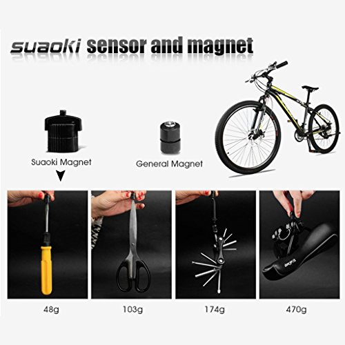 Suaoki Wireless Bike Computer Bicycle Speedometer Bike Odometer with LCD Backlight, 5 Language Displays, Auto Power On/Off Systems, Multi Function for Cycling by SUAOKI (Image #4)