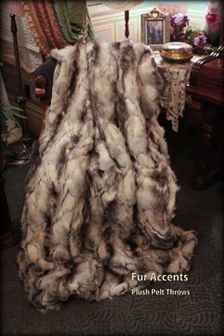 Fur Accents Throw Blanket / Coverlet / Gray Black and White Fox / Faux Fur Rabbit / 5'x6' (Fox Fur Rug)