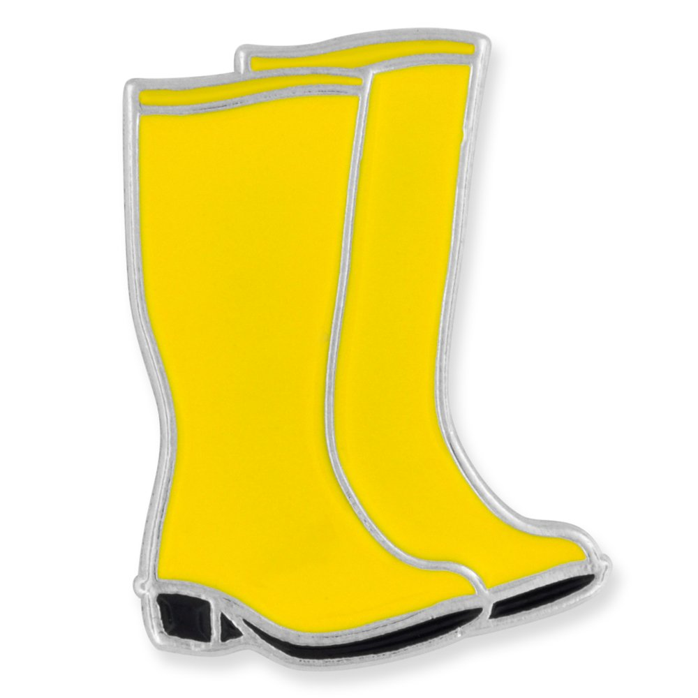 PinMart Cute Yellow Rubber Rain Boots Spring Jewelry Enamel Pin