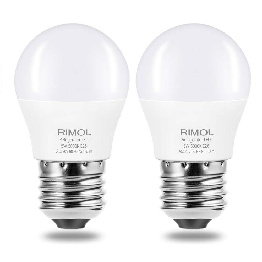 Refrigerator Light Bulb, RIMOL 40W Equivalent 120V A15 LED Fridge Bulbs 5 Watt Daylight White 5000K E26 Medium Base, Energy Saving Freezer Ceiling Home Lighting, Not-Dim, Waterproof, 2 Pack