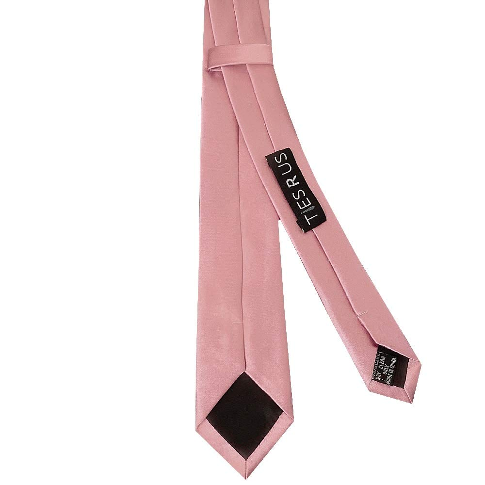 TiesRus Dusty Pink Satin Skinny Boys Tie and handkerchief set
