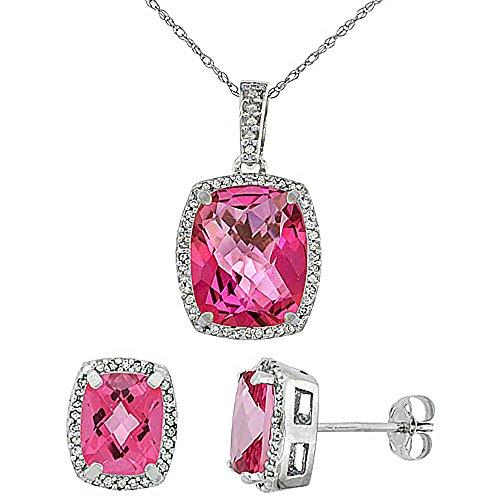 Or blanc 9carats Diamant naturel octogone Boucles d'oreilles et pendentif topaze Rose de coussin Accents