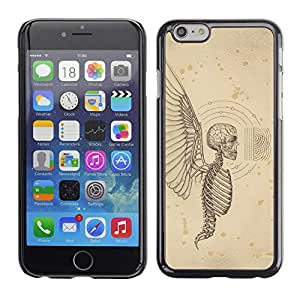 Planetar® ( Angel Death Wings Hell Skeleton Skull ) Apple iPhone 6 / 6S (4.7 inches!!!) Fundas Cover Cubre Hard Case Cover