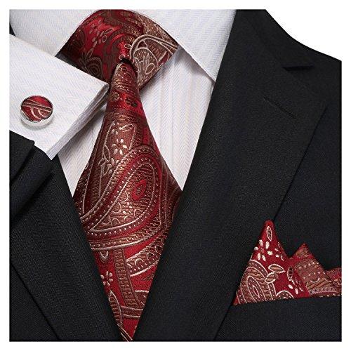Landisun SILK Paisleys Mens SILK Tie Set: Necktie+Hanky+Cufflinks 18E02 Red Brown, 3.25