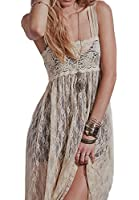 R.Vivimos® Women Spaghetti Straps Sexy See Through Backless Lace Long Dress