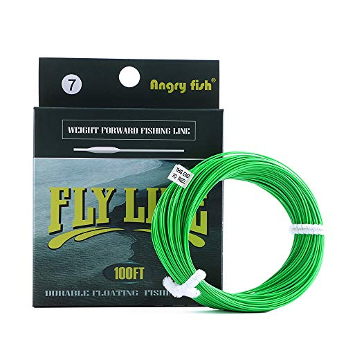 ANGRYFISH 100FT WF5/WF6/WF7 Fly line Weight Forward Floating Line with Floating Nylon Line Tapered Leader Loop (Light Green,WF6)