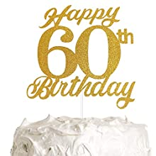 60th Birthday Cake Topper, 60th Happy Birthday Party Decoration with Premium Gold Glitter