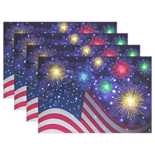 Wamika Firework USA American Flag Placemats Memorial Day Table Mats Independence Day Decor Placemat 4th of July Non-Slip Washable Heat Resistant Place Mats for Kitchen Dining 12″ X 18″ Set of 6