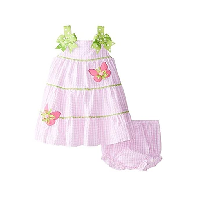 3b9cd2e852d Amazon.com  Rare Editions Baby Girls  Pink Check Butterfly Dress ...