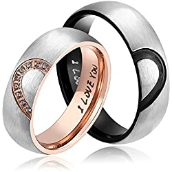 "His & Hers For ""Real Love"" Heart Promise Ring Stainless Steel Valentine's Day gift"