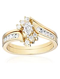 14k Yellow Gold Marquise and Round Diamond Bypass with Interlocking Band Bridal Set (1/2 cttw, I-J Color, I2 Clarity)