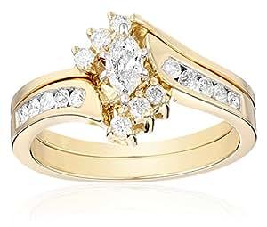 Amazon.com: 14k Yellow Gold Marquise and Round Diamond