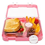 Bento Lunch Box-Pink- by mmmLunchBuddies-Double Leak Proof Container-New Dual Latch-Great for Kids or Adults + FREE INSULATED LUNCH BAG-Healthy Portion Plate-4 Compartment-Microwave-Dishwasher (Pink)