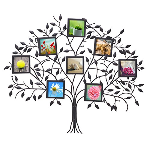 Adeco Pf0566 Family Tree Black Metal Wall Hanging Decorative Collage Picture Photo Frame  8 Openings  4X4  Each  Black With Antique Finish