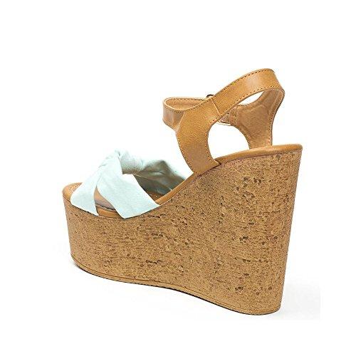 Ideal Shoes, Damen Sandalen Türkis