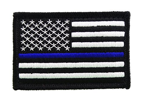 (USA American Thin Blue Line Police Flag Tactical Hook and Loop Fully Embroidered Morale Tags Patch (Black and White))