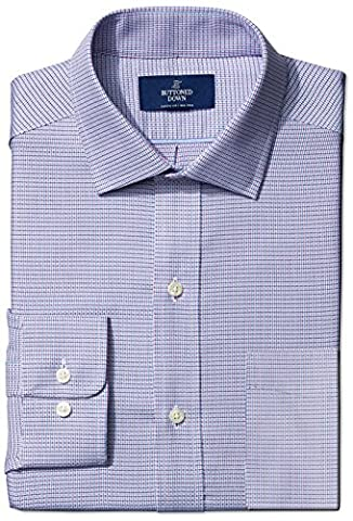 Buttoned Down Men's Classic Fit Spread-Collar Small Geo Non-Iron Dress Shirt, pink/blue, 15.5 35 (Geo Press)