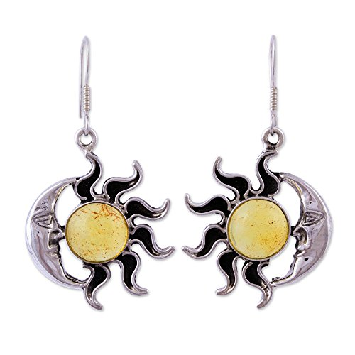 NOVICA Natural Amber .925 Sterling Silver Sun and Moon Dangle Earrings, Resplendent ()