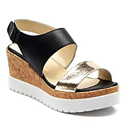 Boberck Veronica Collection Women S Open Toe Platform Summer Wedge Leather Sandals 6 B M Us Black Gold