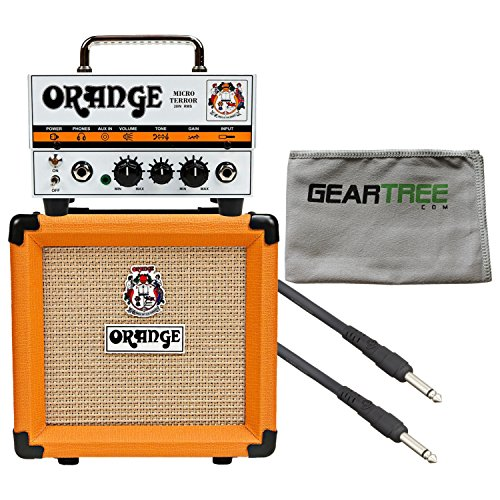 Orange MT20 Micro Terror Head and PPC108 1x8'' Speaker Cab w/ Cleaning Cloth and Speaker Cable (Best Cab For Micro Terror)