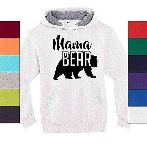 Custom Apparel House Mama Bear Hoodie Mom Women Soft Hoodie Adult Unisex,XX-Large, White