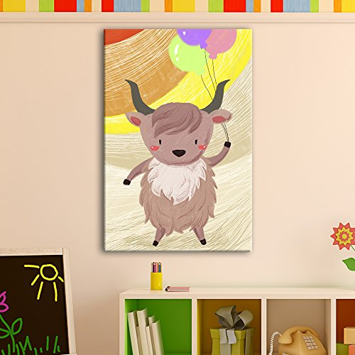 Cute Cartoon Animals A Yak with Colorful Balloons Kid
