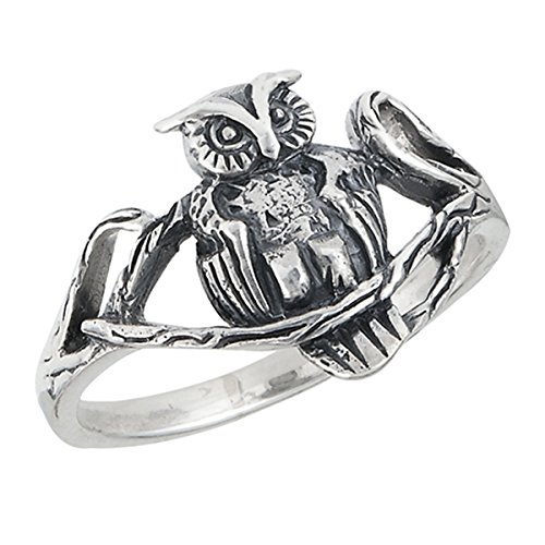 Prime Jewelry Collection Sterling Silver Women's Oxidized Vintage Wise Bird Owl Tree Branch Ring (Sizes 6-9) (Ring Size 7)