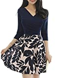 Drimmaks Women Summer Vintage Floral Wrap Ruched Fit and Flare Dress with Sleeve (M, DM001-Dark Blue)