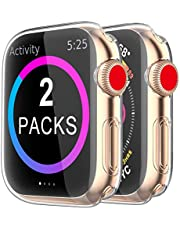 Yaya (2Pcs) Case for Apple Watch Screen Protector 40mm 44mm 38mm 42mm,iWatch Series 6 SE 5 4 3 2 1Soft TPU HD Clear Ultra-Thin Overall Protective Cover Case (44mm)