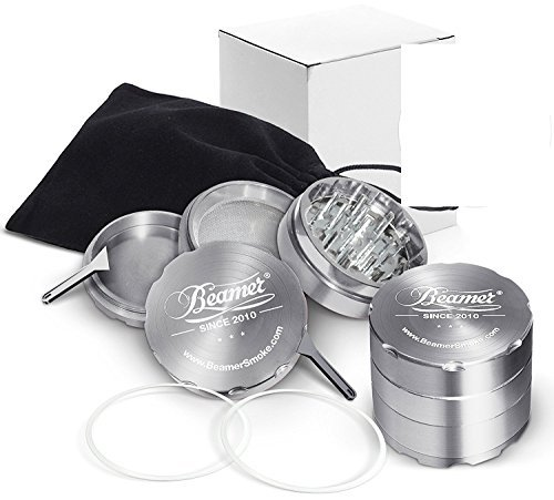 Silver Beamer Smoke 62mm 4 Piece Aircraft Grade Aluminum Grinder / Spice Mill w/ Catcher & Neodymium Magnet + 2 O Rings + 2 Scrapers + Travel Bag. For Tobacco, Coffee, Herbs, Spices + Beamer Sticker