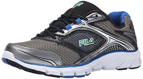 Fila Men's Stir Up Running Shoe, Dark Silver/Black/Prince Blue, 10 M US