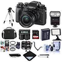 Fujifilm X-T2 Mirrorless Camera with XF 18-55mm f/2.8-4 R LM OIS Lens, Black - Bundle with Camera Bag, 64GB SDHC U3 Card, Spare Battery, Tripod, Flashpoint Zoom-Mini TTL R2 Flash, Video Light And More