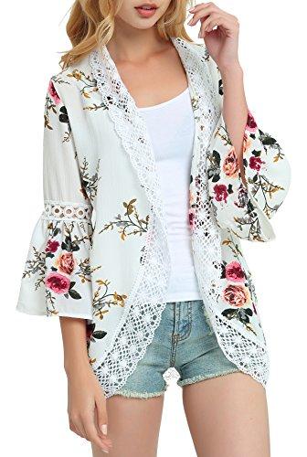 (Basic Faith Women's S-3XL Floral Print Kimono Tops Cover Up Cardigans Ivory L)