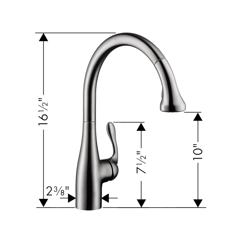 Pull Out Spout 1.75 GPM Steel Optic Hansgrohe 06460860 Allegro E Gourmet 2-Spray Professional Style Kitchen Faucet